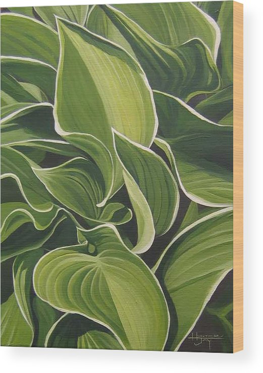 Closeup Of Hosta Plant Wood Print featuring the painting Shapes That Go Together by Hunter Jay