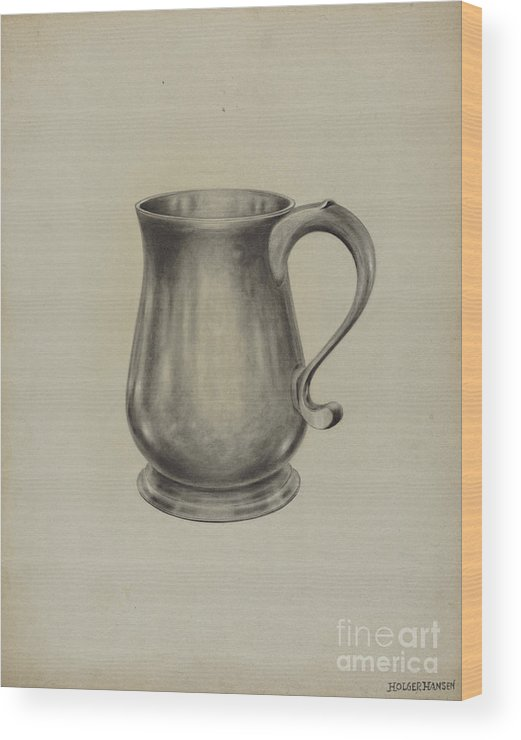 Wood Print featuring the drawing Silver Mug by Holger Hansen