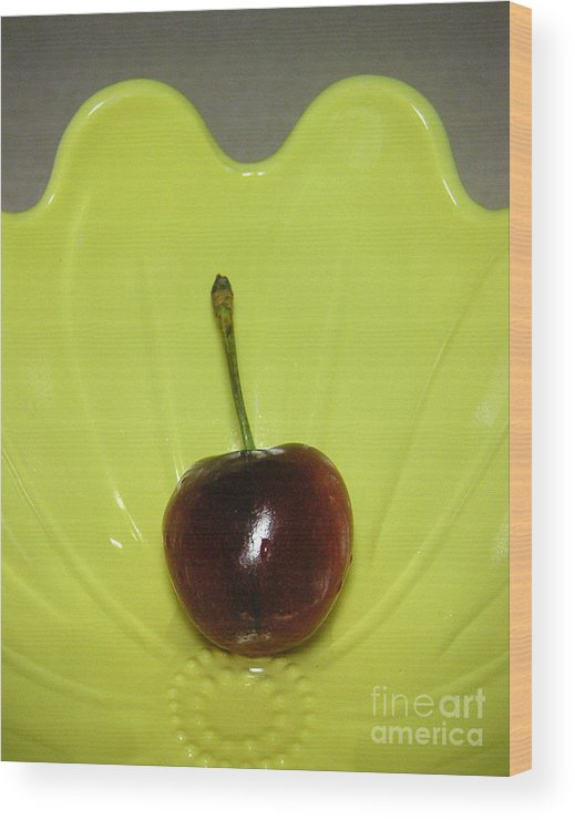 Nature Wood Print featuring the photograph Single Cherry by Lucyna A M Green