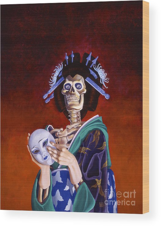 Skeleton Wood Print featuring the painting Skeletal Geisha With Mask by Melissa A Benson