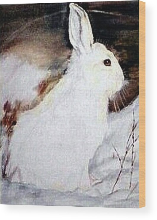 Snowshoe Hare Wood Print featuring the painting Snow Bunny by Debra Sandstrom