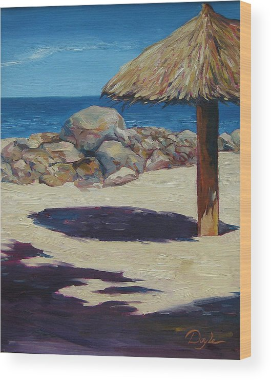 Ocean Wood Print featuring the painting Solo Palapa by Karen Doyle