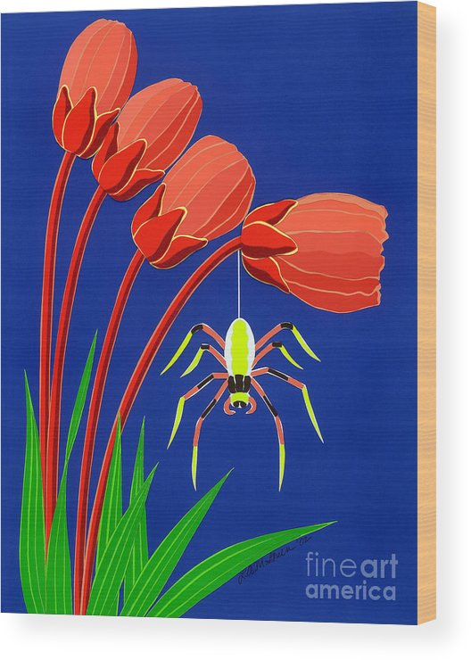 Nature Wood Print featuring the drawing Spider by Lucyna A M Green