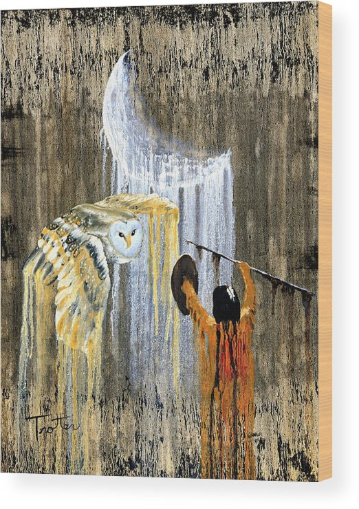 Indian Art Wood Print featuring the painting Spirit Of The Night by Patrick Trotter