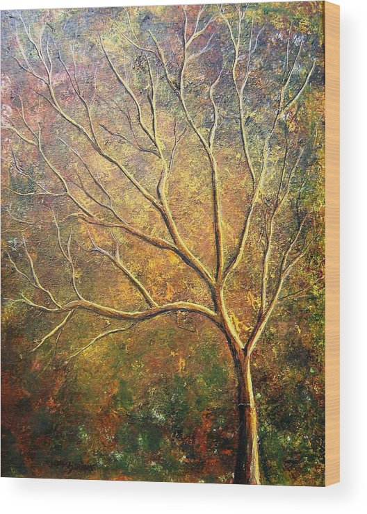 Wood Print featuring the painting Spirit Tree 5 by Tami Booher