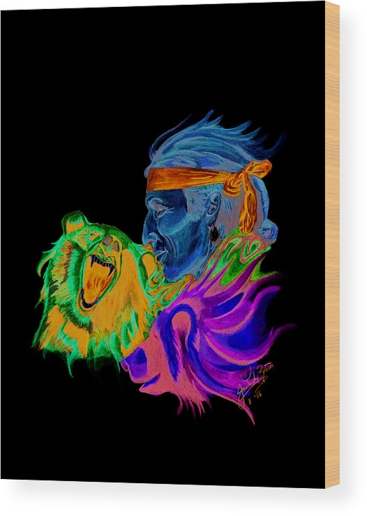 Native American Wood Print featuring the drawing Spirits2 by Jason McRoberts
