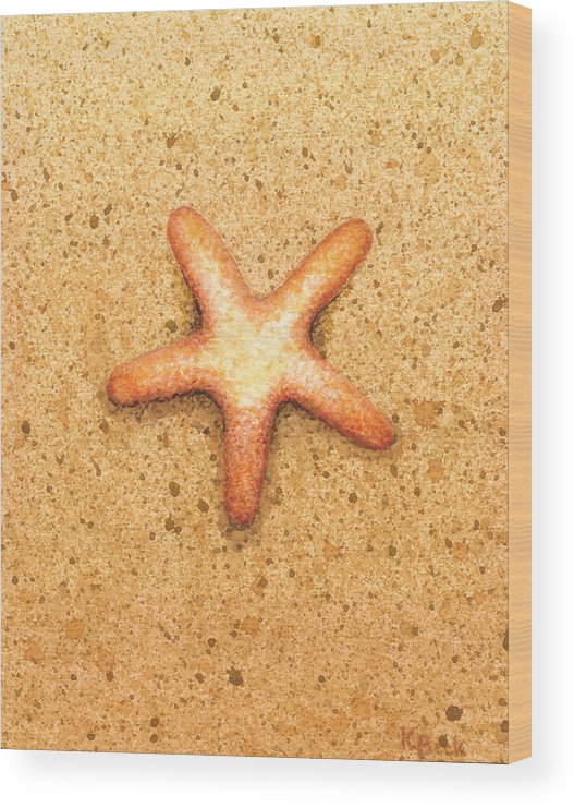 Print Wood Print featuring the painting Star Fish by Katherine Young-Beck