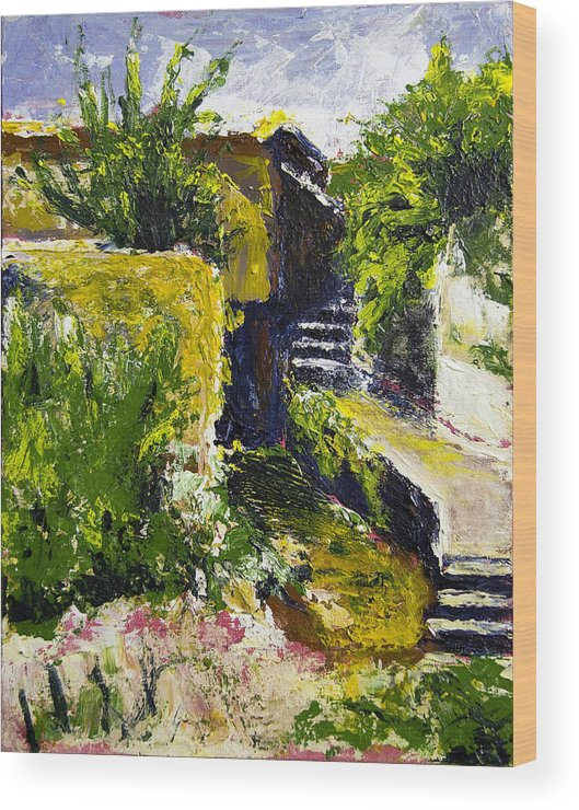Steps Wood Print featuring the painting Steps To San Martin by Robert Sako