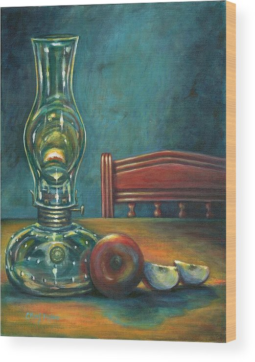 Lamp Wood Print featuring the painting Still Life With Apples by Colleen Maas-Pastore