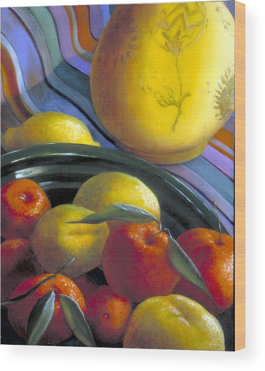Oil Painting Wood Print featuring the painting Still Life With Citrus by Nancy Ethiel