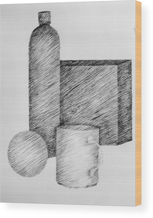Still Life Wood Print featuring the drawing Still Life With Cup Bottle And Shapes by Michelle Calkins