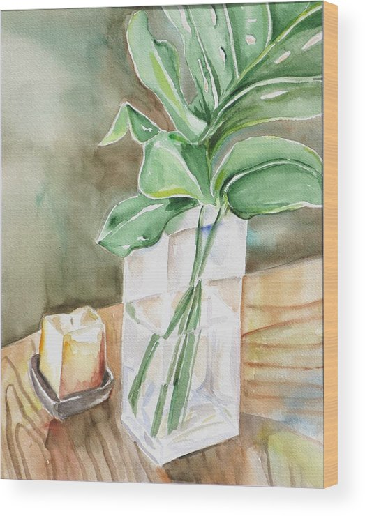Still Life Wood Print featuring the painting Still Life With Leaf by Kathy Mitchell