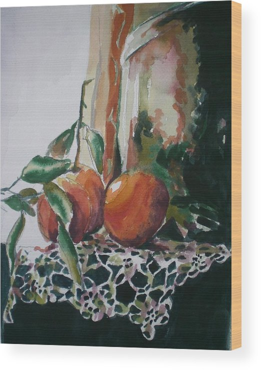 Oranges Wood Print featuring the painting Still Life With Oranges by Aleksandra Buha