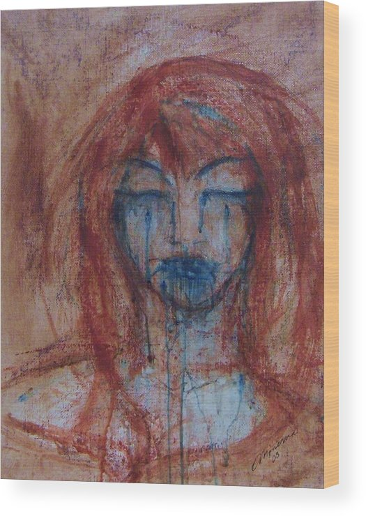 Face Wood Print featuring the painting Stone Tears by Cathy Minerva