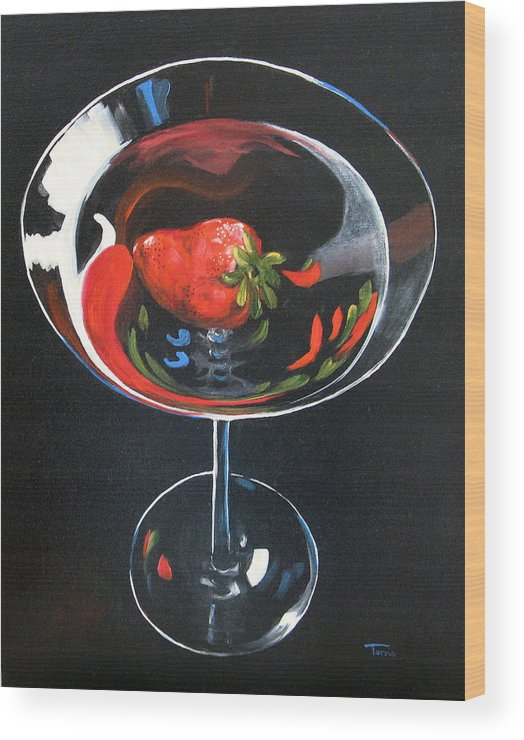Bar Art Wood Print featuring the painting Strawberry Martini by Torrie Smiley