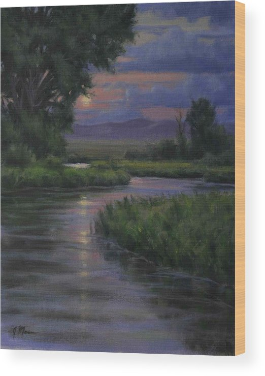 Summer Moonrise Wood Print featuring the painting Summer Moon by Joe Mancuso