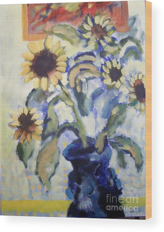 Flowers Wood Print featuring the painting Sunflowes by Geraldine Liquidano