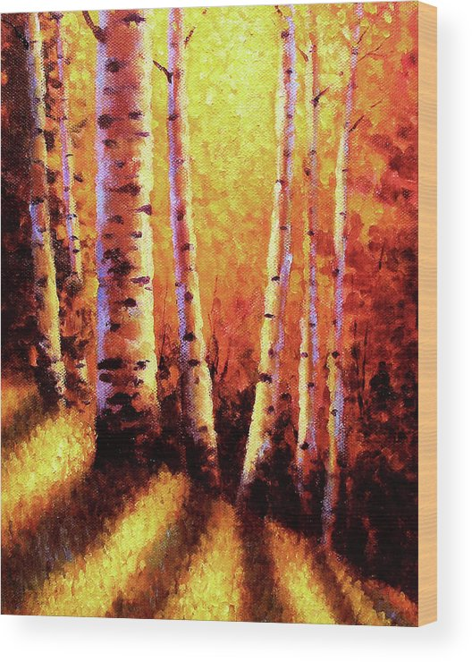 Sunlight Wood Print featuring the painting Sunlight Through The Aspens by David G Paul