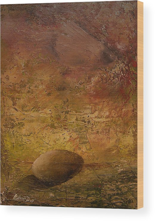 Surrealism Wood Print featuring the painting Surreal Egg On An Abstract Canvas by Dejan Roncevic
