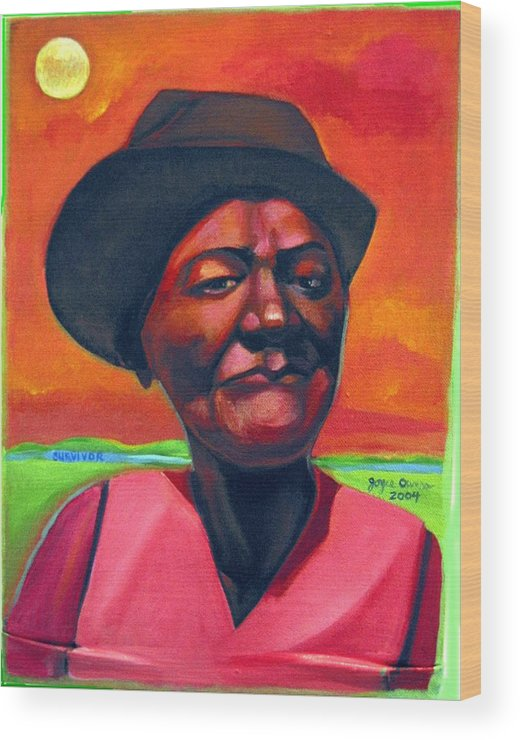 African Wood Print featuring the painting Survivor Spirit Mollie by Joyce Owens