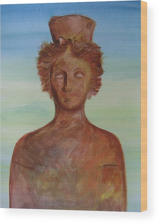Icon Wood Print featuring the painting Tanit Mythical Godess Of Ibiza by Lizzy Forrester