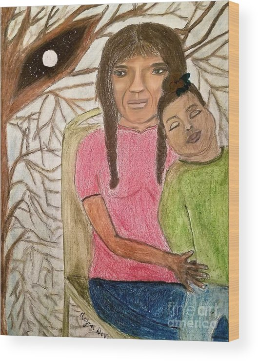 Red Wood Print featuring the drawing The Dreamcatcher by Regina Combs
