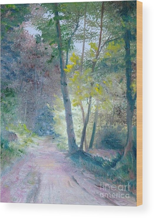 Landscape Wood Print featuring the painting The Forest by Judy Groves