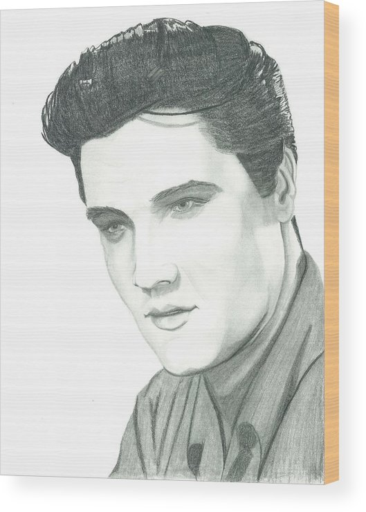 Elvis Wood Print featuring the drawing The King by Seventh Son