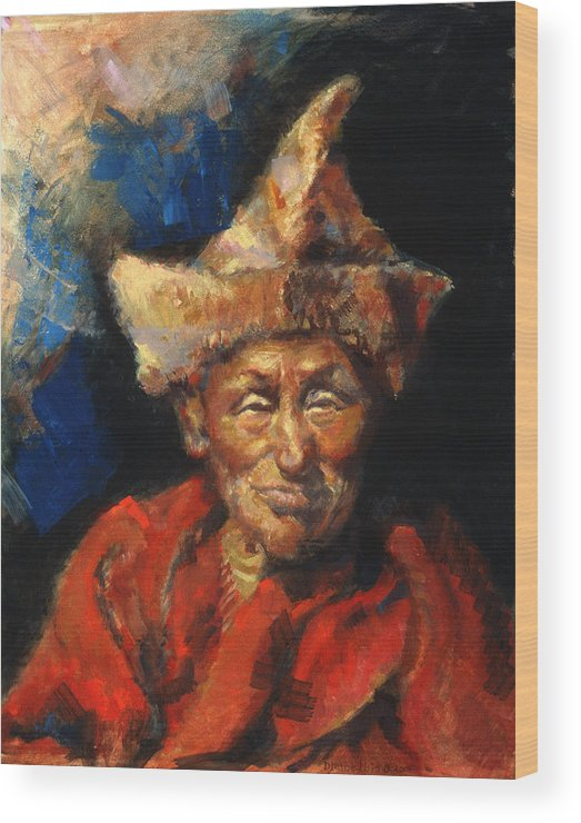 Oil Paintings Wood Print featuring the painting The Laughing Monk by Ellen Dreibelbis