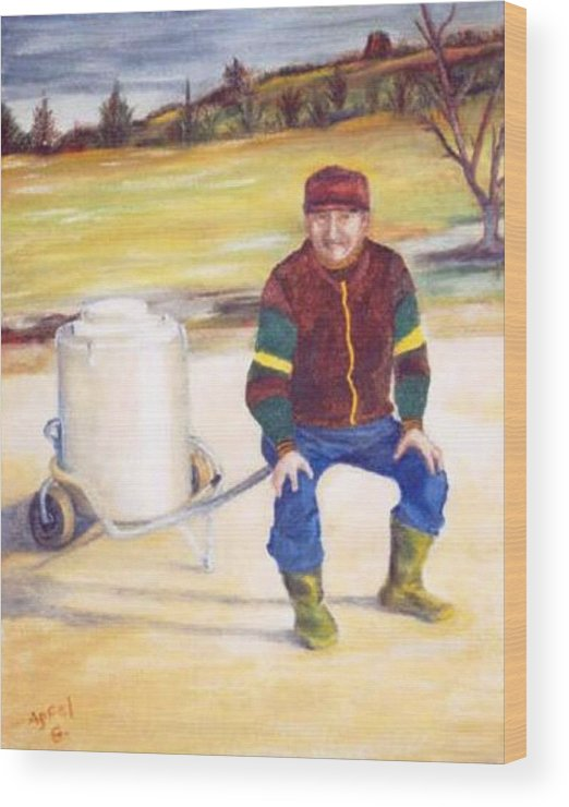 Milkman Wood Print featuring the painting The Milkman by Gloria M Apfel