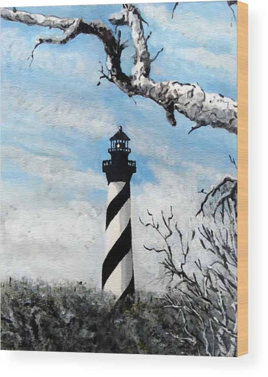 Lighthouse Wood Print featuring the painting The Other View Of Hatteras by Jim Phillips