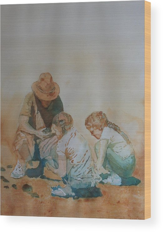 Fathers Wood Print featuring the painting The Pumice Seekers by Jenny Armitage