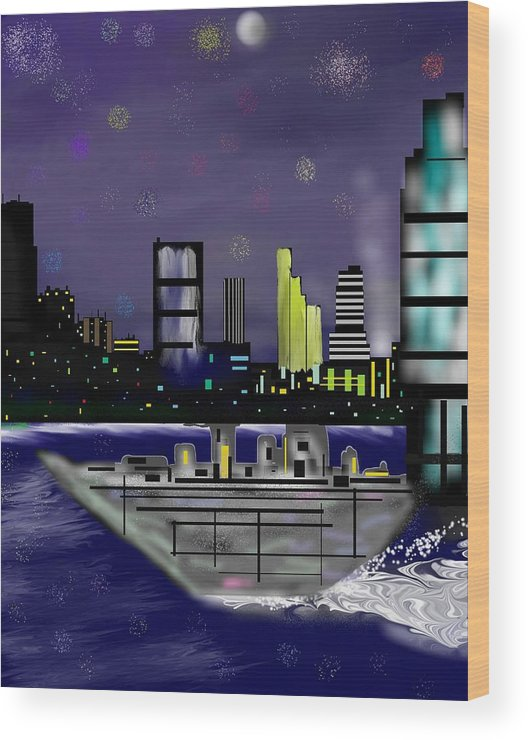 Cityscapes Wood Print featuring the digital art The Sky Is The Limit by Abel Padilla