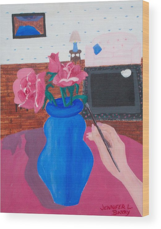 Vase Wood Print featuring the painting The Vase by Jennifer Hernandez