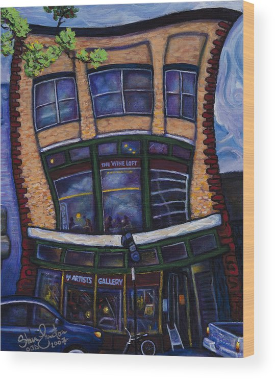 Landscape Wood Print featuring the painting The Wine Loft by Steve Lawton