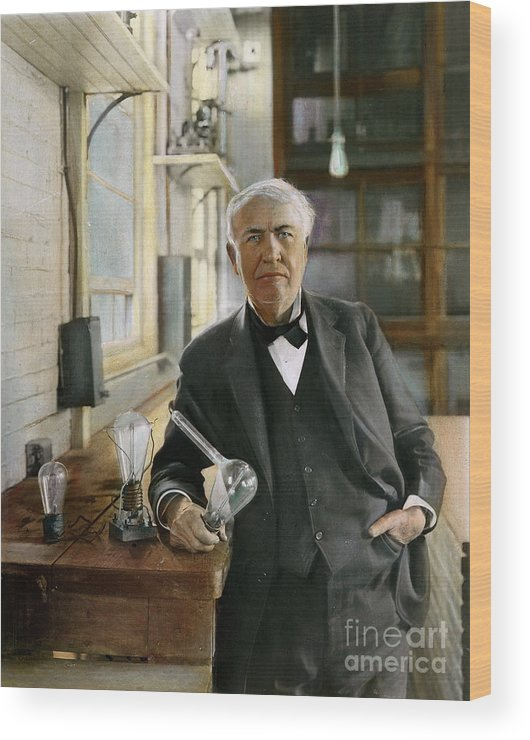 1915 Wood Print featuring the photograph Thomas Edison by Granger