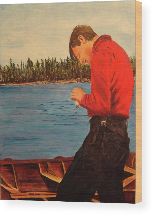 Tom Thomson Wood Print featuring the painting Tom Thompson In Colour by Betty-Anne McDonald