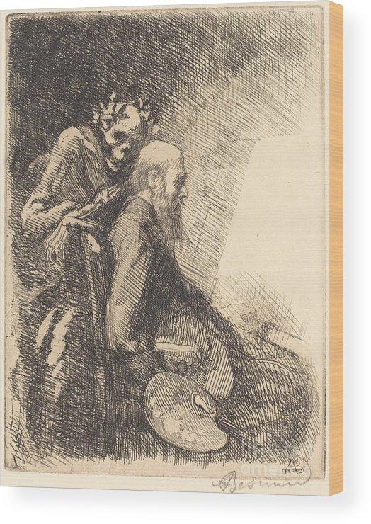 Wood Print featuring the drawing Too Demanding (exigeante) by Albert Besnard