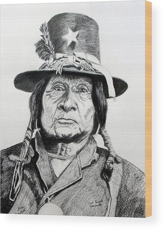 Indian Wood Print featuring the drawing Tosawi Comanche Chief by Stan Hamilton