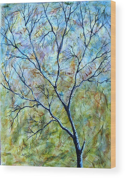 Wood Print featuring the painting Tree Number Two by Tami Booher