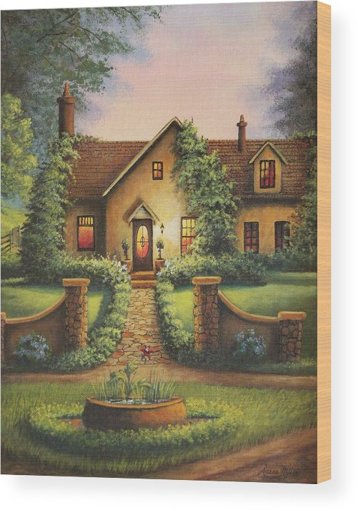 House Wood Print featuring the painting Tuscan Home by Diana Miller