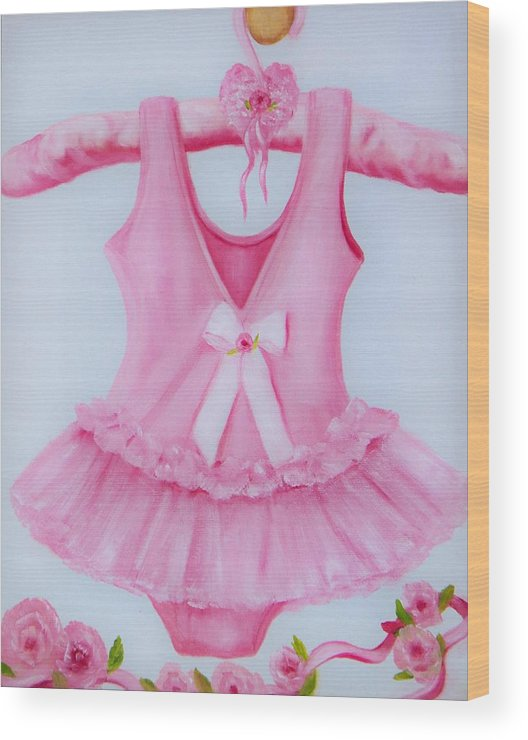 Oil Wood Print featuring the painting Tutu With Ribbon by Joni McPherson