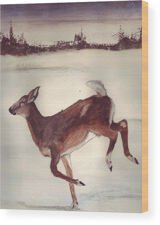 Whitetail Deer Wood Print featuring the painting Twilight Run by Debra Sandstrom