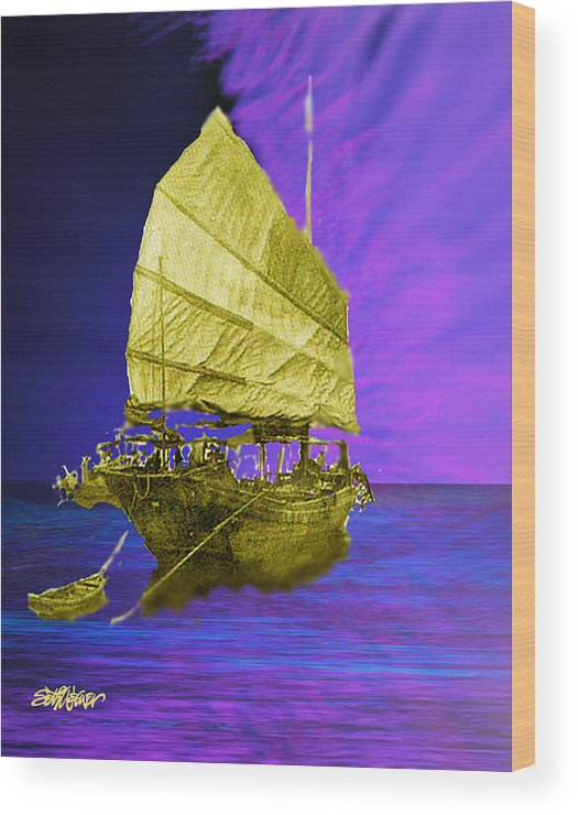 Nautical Wood Print featuring the digital art Under Golden Sails by Seth Weaver