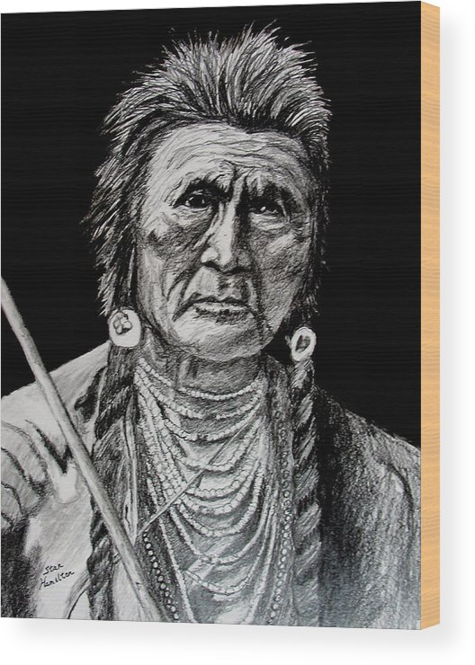 Original Portrait Wood Print featuring the drawing Unknown Indian by Stan Hamilton
