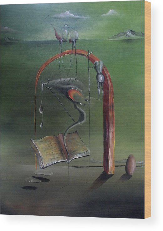 Surrealism Wood Print featuring the painting View Into The Unknown Future by Dejan Roncevic