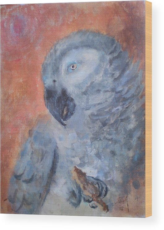 African Grey Parrot Wood Print featuring the painting Vinny by Bryan Alexander