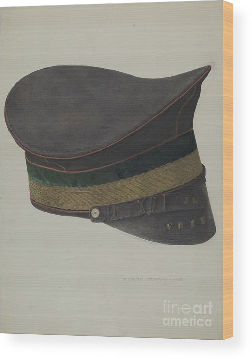 Wood Print featuring the drawing Volunteer Fireman's Cap by Alexander Anderson