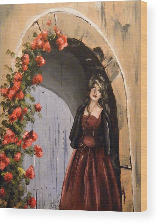 Door Wood Print featuring the painting Waiting by Scarlett Royal
