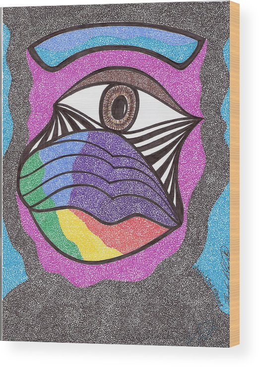 Abstract Wood Print featuring the drawing Watchandpray by Freda Garland